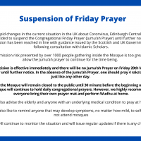 UPDATE: SUSPENSION OF FRIDAY PRAYER