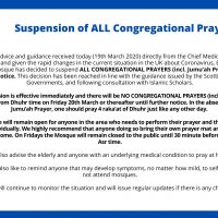 UPDATE: Suspension of ALL Congregational Prayers