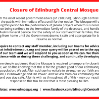 UPDATE: Immediate Closure of Edinburgh Central Mosque