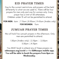 Eid (and Jumuah) Prayer Times